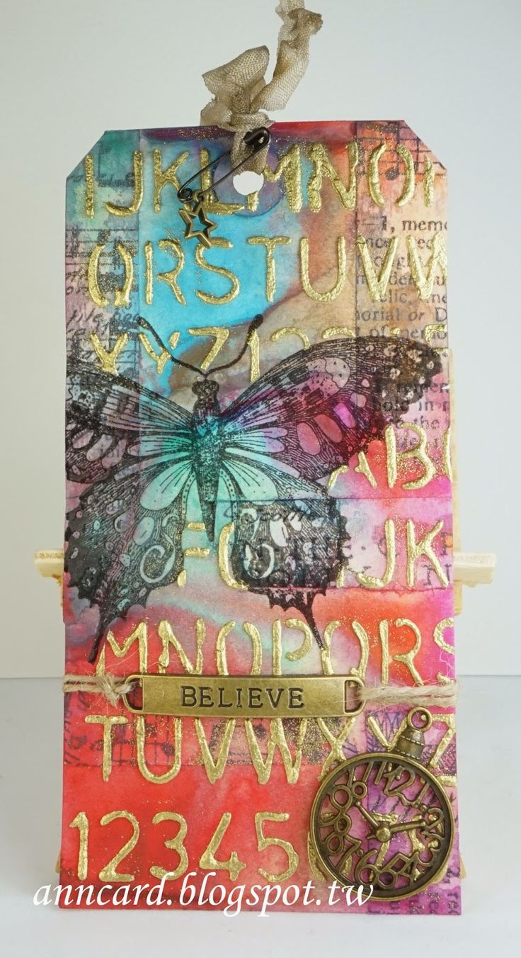 Ann Chuan: Ann's Cardmaking Garden: Tim Holtz 12 tags of 2015 - March - 3/23/15.  (Tim Holtz: Schoolhouse stencil.  Penny Black: Soft Wings stamp).