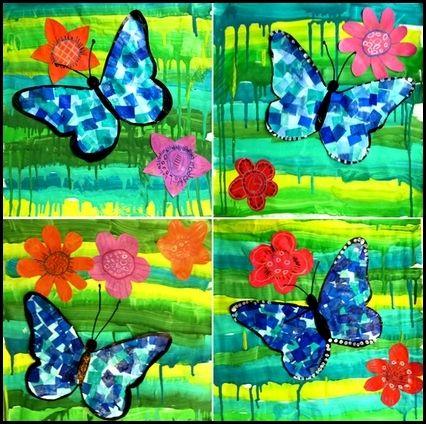 papillon morpho d'amazonie : pour le fond : peindre des lignes horizontales de différentes nuances de vert. Sur un gabarit en forme de papillon, coller du papier de soie bleue. Décorer de quelques fleurs