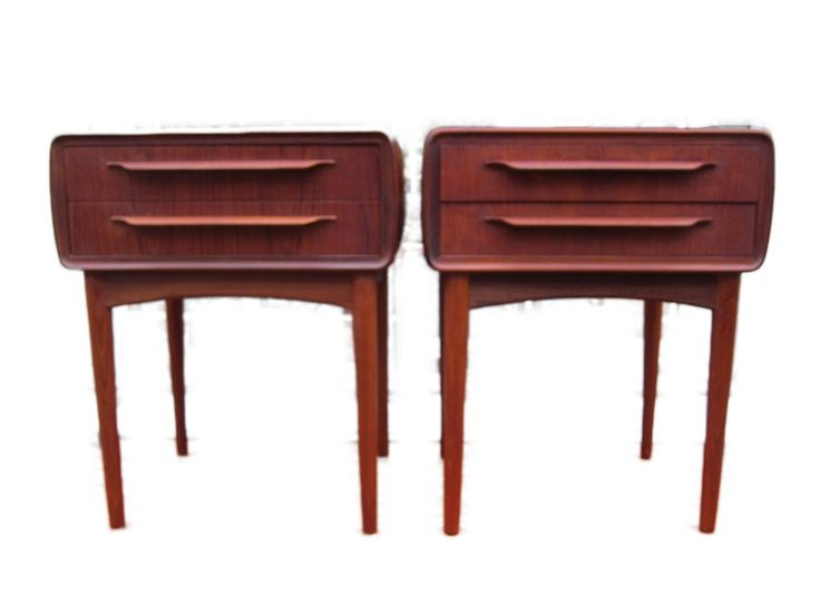 A pair of tall Johannes Andersen teak tables by CopenRetro on Etsy