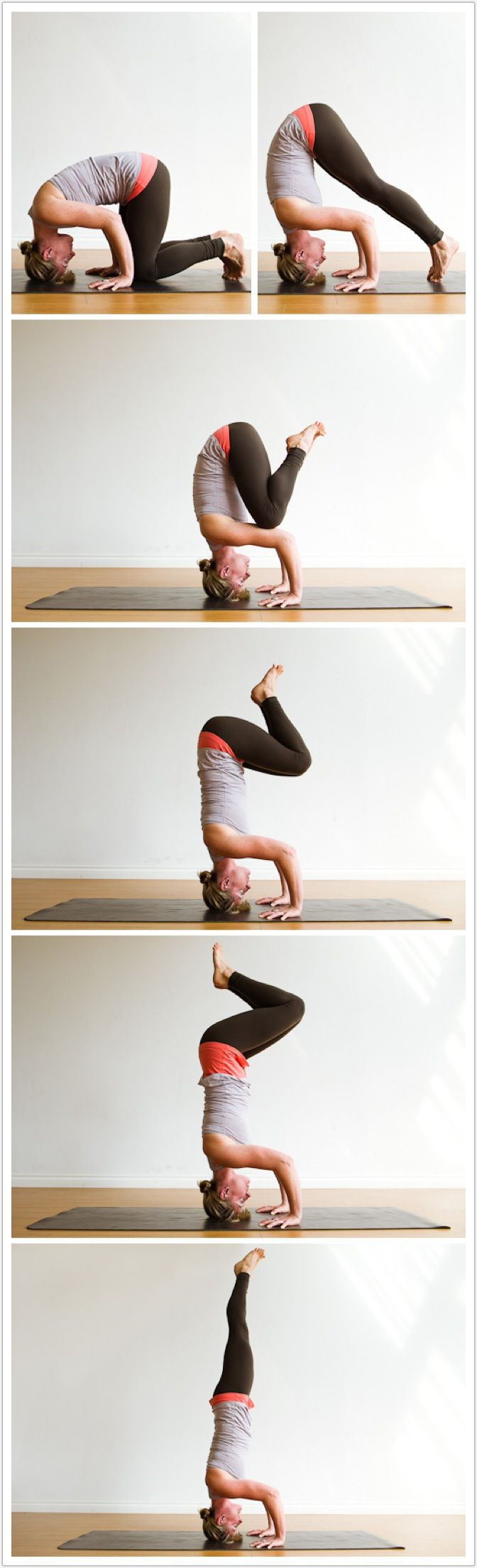 Here are the steps into a headstand. Getting to the third one can take beginners weeks or months. Patience is essential all the way along. (And be sure you can safely roll to your back if you lose control.) I prefer the tripod base, by the way, although t