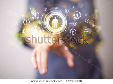 Young woman touching future technology social network button  - stock photo
