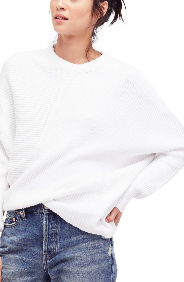 Cozy ribbing textures this fabulously oversized pullover in an easy dolman-sleeve silhouette.