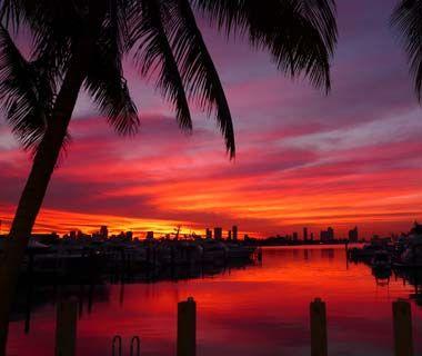 Sunset over Miami Beach, FL