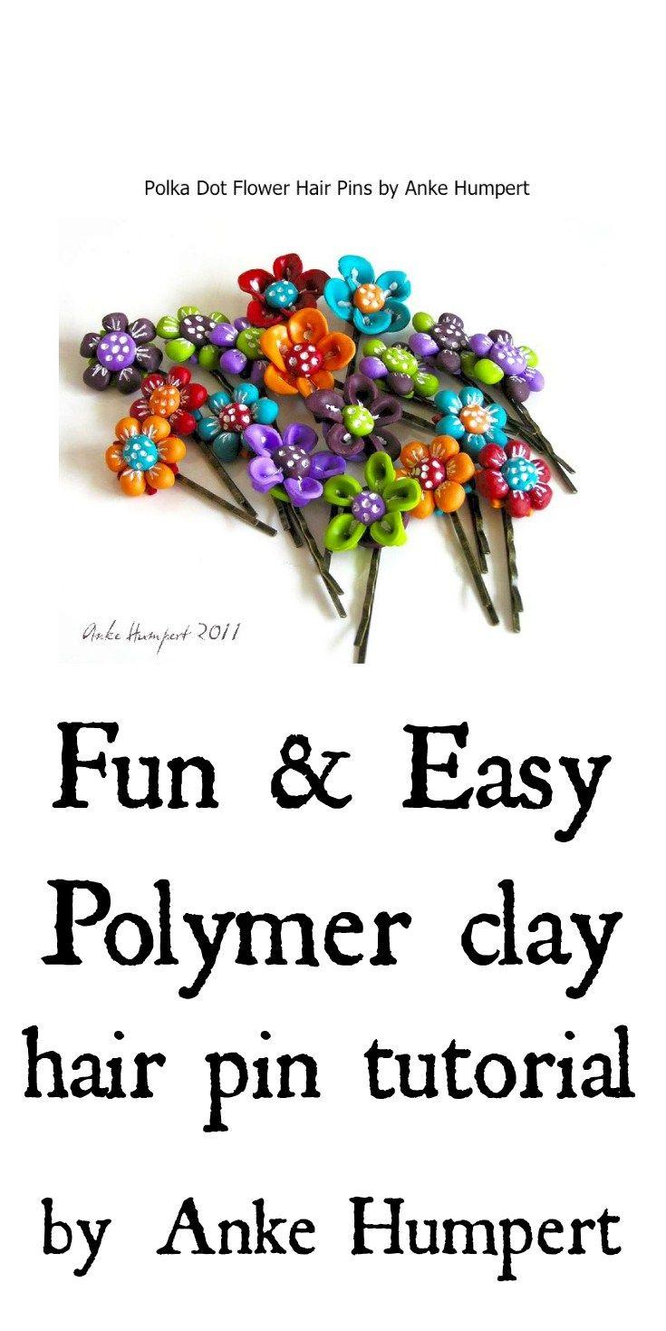 fun and easy rainbow polka dot  polymer clay hair pin tutorial