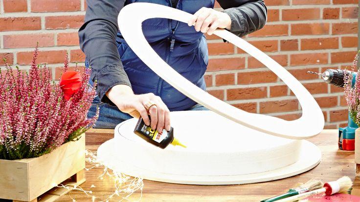 styropor auf holzringe kleben technikordner pinterest selber machen basteln und dekoration. Black Bedroom Furniture Sets. Home Design Ideas