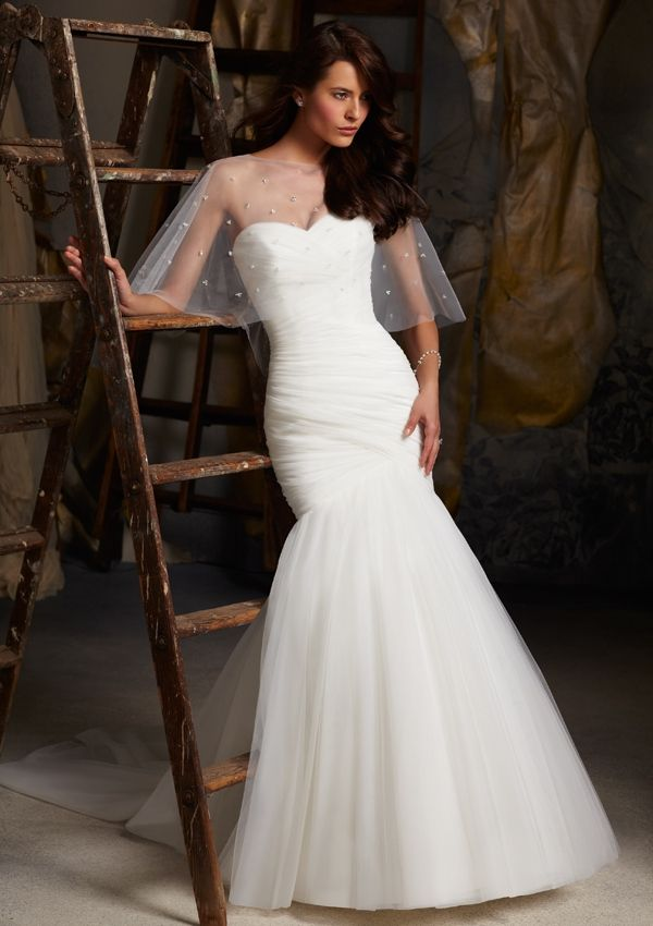 Spectacular Blu Bridal by Mori Lee Asymmetrically Draped Net Shown with Beaded Cape Sold Separately
