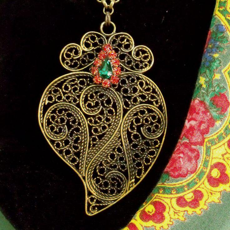 Portuguese bronze Viana heart necklace folk