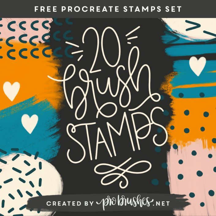 20 Free Procreate Grunge Stamps Brush Set