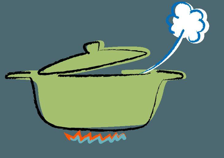 豆カット 御煎餅を食べる 湯気を吐くなべ・鍋のイラスト | ゴゴンのイラスト素材KAN