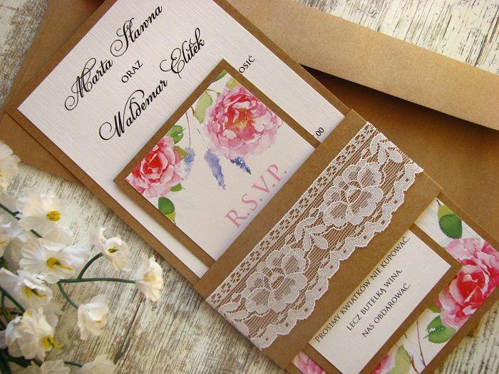 Zaproszenia ślubne Na ślub Boho Artcard 5849962093 Allegropl