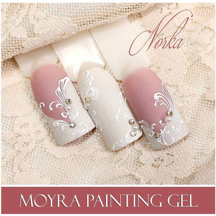 Nail art with Moyra Fuse One-Step Gel Lac No. 45, No. 31, Moyra SuperShine Colour Gel No. 502 Snow, Moyra Painting Gel No. 01 White #moyra #nailart #fuse #onestep #gellac #supershine #colourgel #snow #white #feher #koromdiszites #szineszsele #festozsele #painting #gel #paintinggel #norkanaildesign