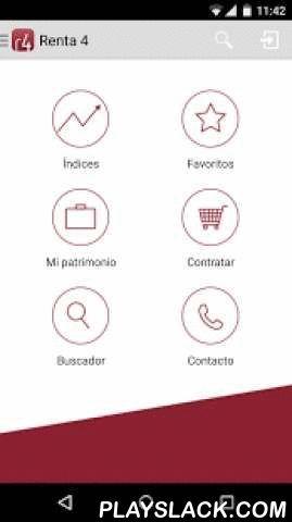 Renta 4  Android App - playslack.com ,  Descubre ahora la aplicación Android de Renta 4 Banco que permite seguir la evolución de los mercados financieros y operar en tiempo real, desde cualquier lugar y de forma sencilla y adaptada al terminal.Consulta ahora cotizaciones y contratación de Bolsas, CFDs, Futuros y Opciones y próximamente también otros productos de inversión.Funcionalidades en abierto: • Cotizaciones gratuitas de Bolsa, índices, CFDs, ETFs, Futuros y Opciones, nacionales e…