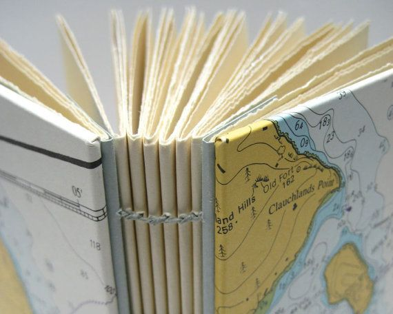 Small, A6 notebook or journal covered with a sea chart of Scotland's islands by Joanna Caskie