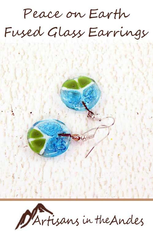 Get these perfect handcrafted earrings to symbolize your commitment to world peace. These earrings have a creatively updated peace symbol in white with two shades of green completing the look. #fairtrade #fairtradefashion #fairtradejewelry #fairtradegifts