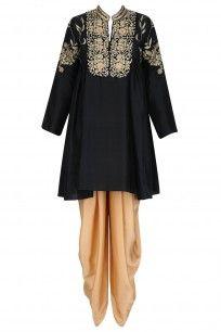 Black and Gold Floral Embroidered Tunic and Gold Dhoti Pants Set #aditisomani #ethnic #shopnow #perniaspopupshop #happyshopping
