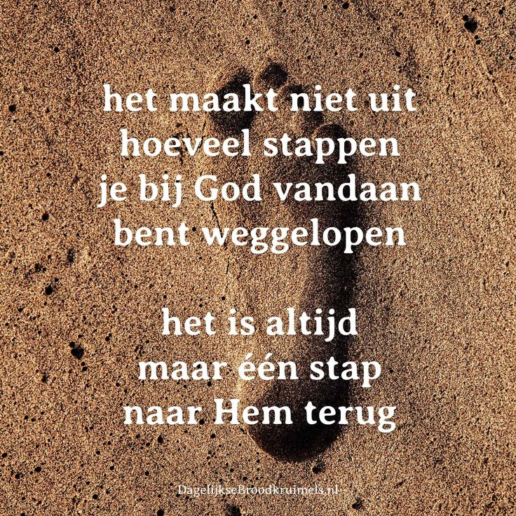 Het maakt niet uit hoeveel stappen je bij God vandaan bent weggelopen. Het is altijd maar één stap naar Hem terug.  #God, #Vergeving  http://www.dagelijksebroodkruimels.nl/maar-een-stap-terug/