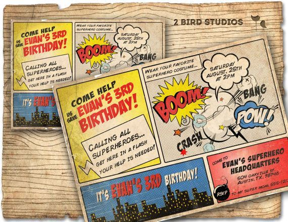 Calling all superheroes, get here in a flash. Your help is needed to save a Birthday party. This superhero invitation looks just like its out of a