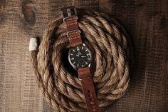 Omega Railmaster XXL on a leather Nato/Zulu strap.
