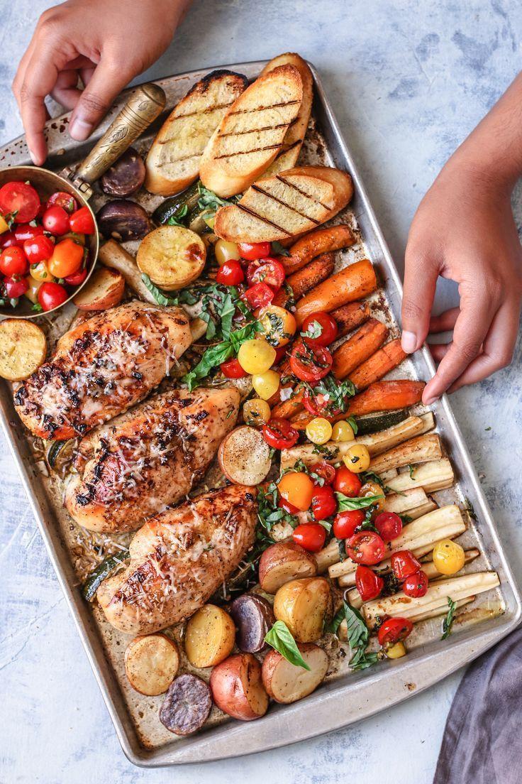 Blatt Pan Bruschetta Huhn und Gemüse