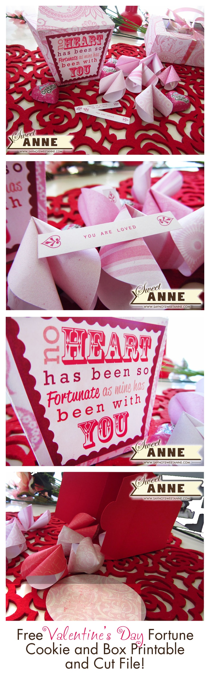 So sweet Valentine's Day Fortune, Fortune Cookie and Box! Free Printable and Cut File.: