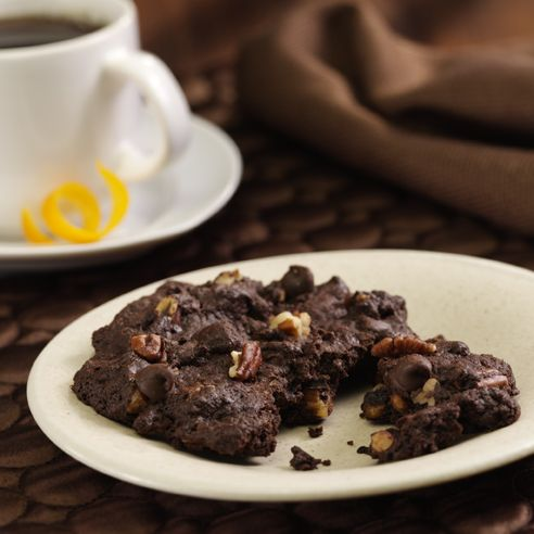 Dark Chocolate-Chocolate Chip Cookies: Jumbo cookies made with chocolate cookie dough filled with chocolate morsels and pecans