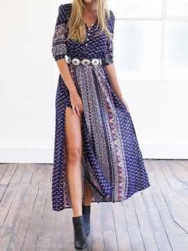 Multicolor V Neck Tribal Print Button Detail Split Dress