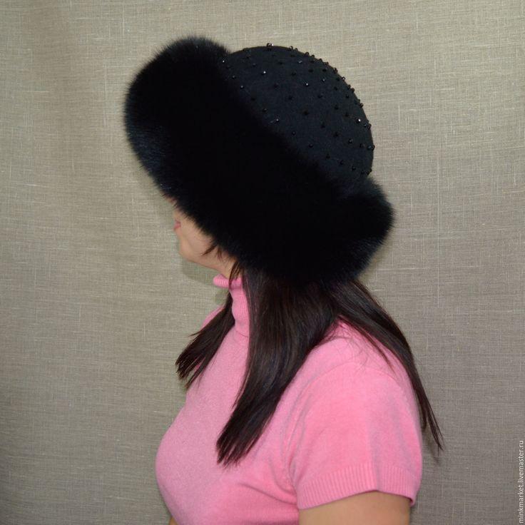 Купить Шапочка с мехом песца Боярка - черный, головные уборы, головные уборы для женщин