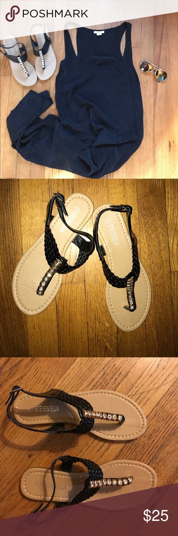 {Steven Ella} Diamond Patent Leather Sandals [7] Diamond Studded Patent Leather Sandals. Size: 7. Brand New In Box. Super Cute! Great with shorts or a maxi! Free with any $75.00+ bundle ❤️😀❗️ Steven Ella Shoes Sandals