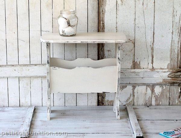 Cottage Chic Magazine Table / 5 Days Of White Furniture #shabbychic #white #shabby #pinoftheday
