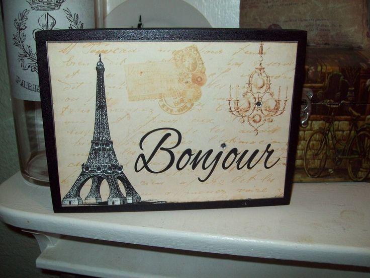 Paris decor Bonjour Eiffel Tower block sign chandlier French shabby decor     eBay