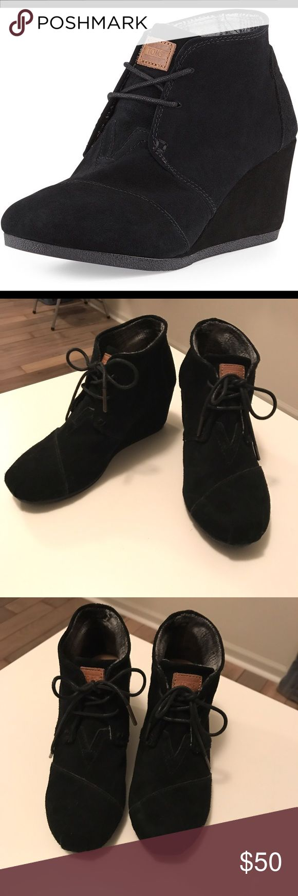 TOMS Black Desert Wedge Bootie Excellent condition. Only worn a couple of times. TOMS Desert Wedge Bootie size 7 Black TOMS Shoes Wedges