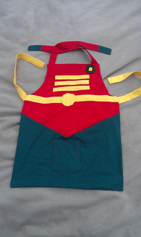 Robin Apron Child Unisex by hatzNthangz on Etsy, $24.99 Nerdy apron for kids! Batman apron for boys, youth aprons, aprons for boys, superhero aprons for kids