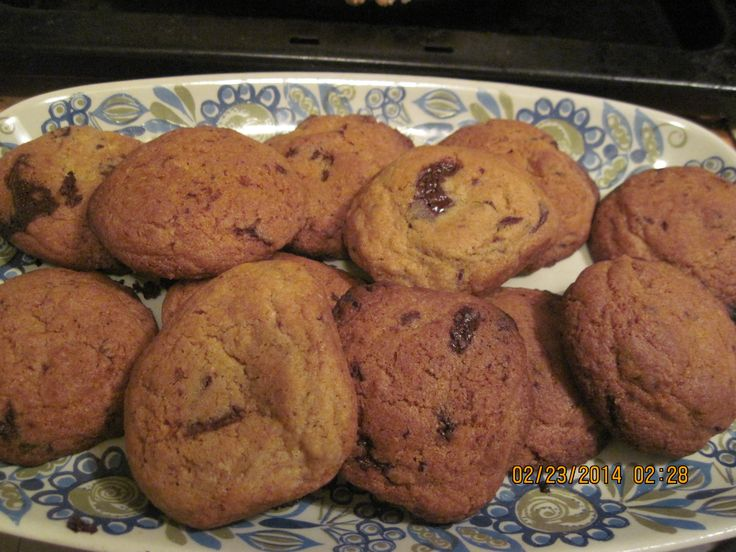 tollhouse chocolate chip cookie recipe, plus tsp fresh ground nutmeg. Do not measure flour first, and use baking chocolate, chopped coarsely.