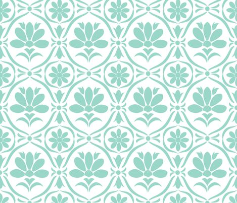 Tiffany Flower Damask Fabric By Natitys On Spoonflower