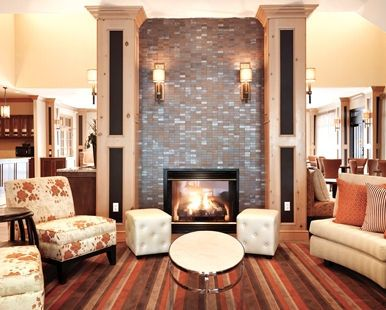 Homewood Suites by Hilton Vancouver-Portland Hotel, WA - Lodge Area with Tables and Fireplace