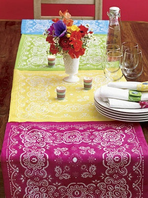 Summer Party Ideas. scarf table runner.