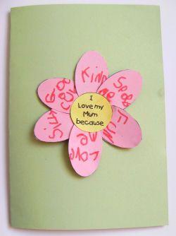 I love my mom flower card