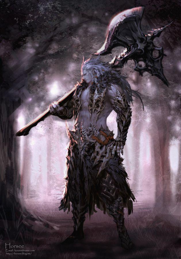 Norse Dark Elf Fighter by Horsee