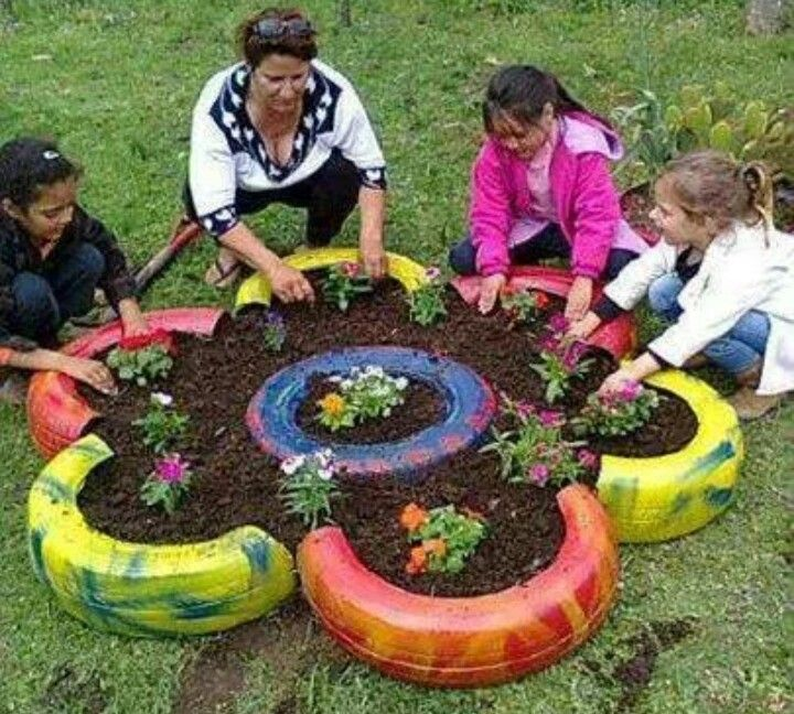 Old tires planter tire crafts pinterest planters for Using tyres as planters
