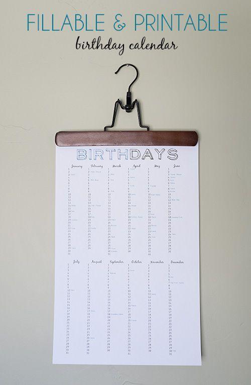 Free Fillable, Printable Birthday Calendar