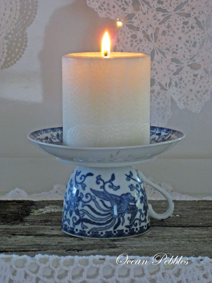 Vintage tea cup candle holder.