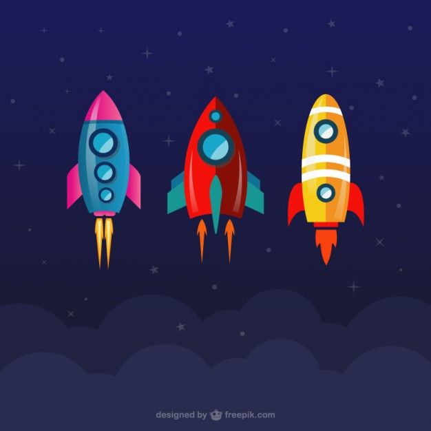 Coleta de foguetes espaciais Vetor grátis