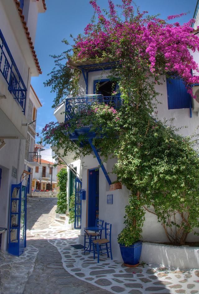 Backstreet in Skiathos, Greece Most of my holidays as a child where spent here, one of my favourite places in the world