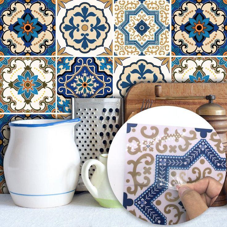 Boho Chic Removable Wallpaper Tile Blue Self Adhesive