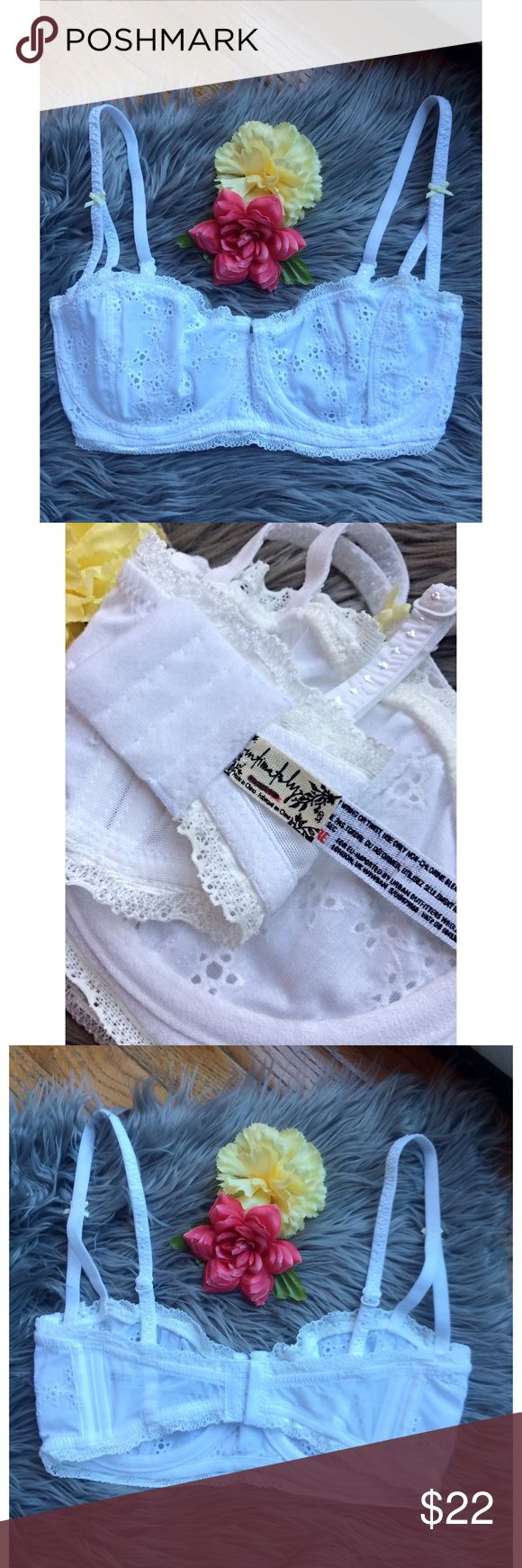 NWOT Free People White Oh My Darling Bra 🍃 Brand new without tags Free People Oh My Darling Bra in white! Balconet style bra, accented with small floral eyelet embroidery. Underwire cups. Hook-and-eye closure and adjustable shoulder straps! Tag marked to prevent store returns! Available in sizes 32D and 34B :) Free People Intimates & Sleepwear Bras
