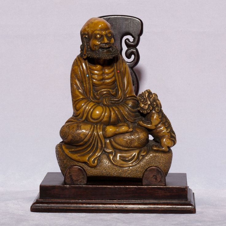 A 19thC. Chinese hardstone statue carving on stand of Arhat or Lohan