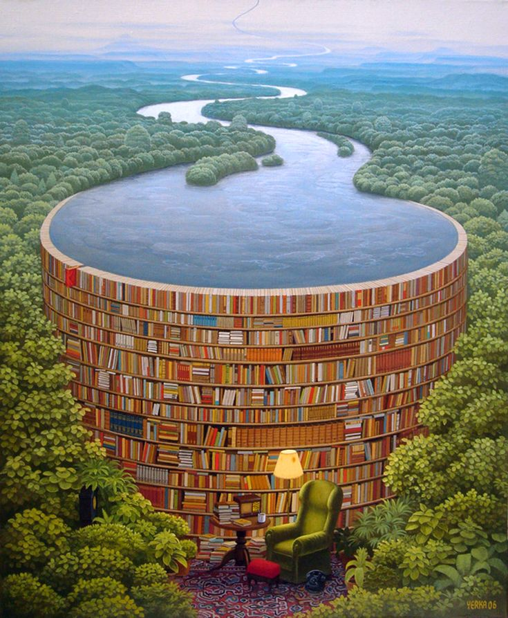 Surrealism Art - title Bible Dam by painter Jacek Yerka - Behind every stack of books is a flood of knowledge!