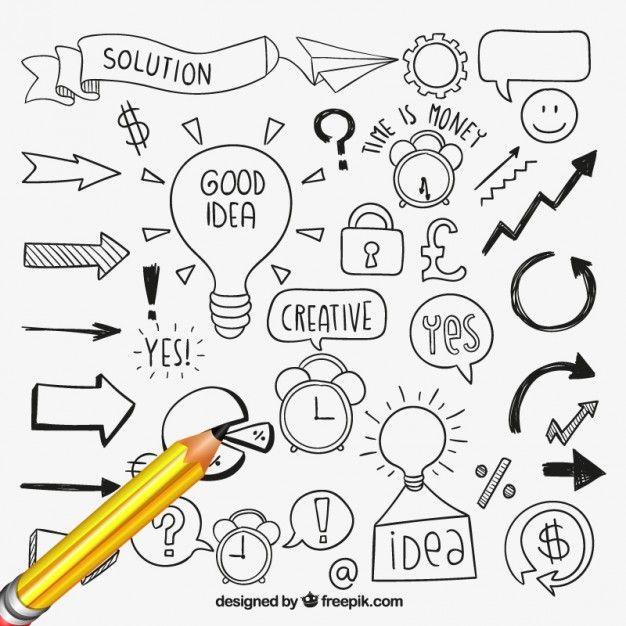 Desenhadas mão elementos de idéias                                                                                                                                                                                 Mais
