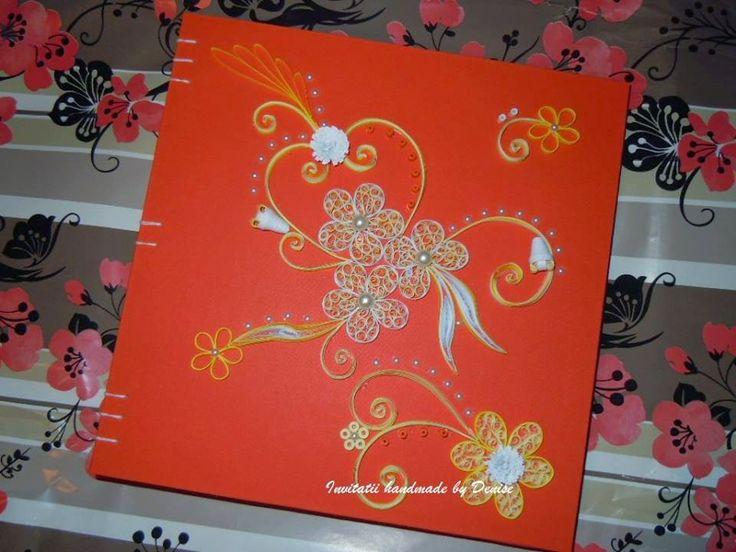 Quilling flowers/Quilling photo album/Orange quilled flowers