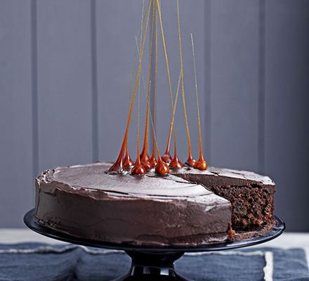 This hybrid brownie chocolate cake by John Whaite is a bold party bake. The toffee spikes transform it into a professional-standard dessert